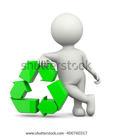 White 3D Character Leaned on a Green Recycle Sign on White Background 3D Illustration - stock photo
