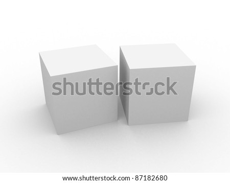 white 3d cube isolated over white. 3d illustration - stock photo