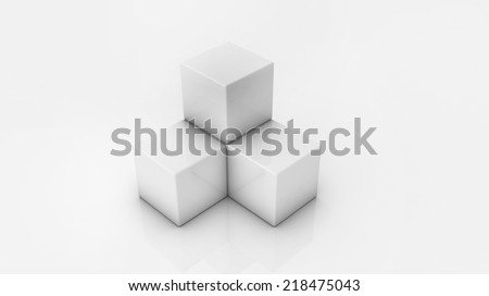 White 3D cubes - stock photo