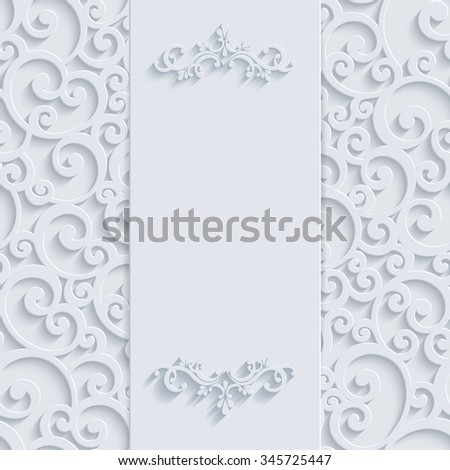 White 3d Floral Curl Background with Swirl Damask Pattern for Christmas or Wedding or Invitation Card. Vintage Design Template - stock photo