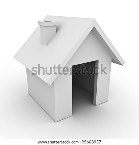 White 3d house on white background - stock photo