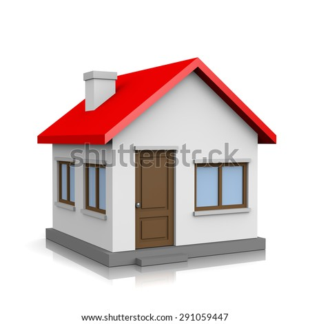 White 3D House with Red Roof on White Background Illustration - stock photo