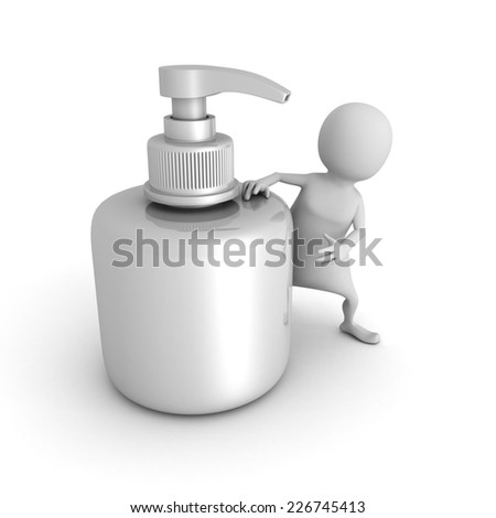 white 3d human with white cosmetic tube. 3d render illustration - stock photo
