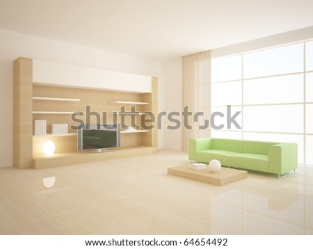 white 3d interior - stock photo