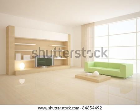 white 3d interior - stock photo