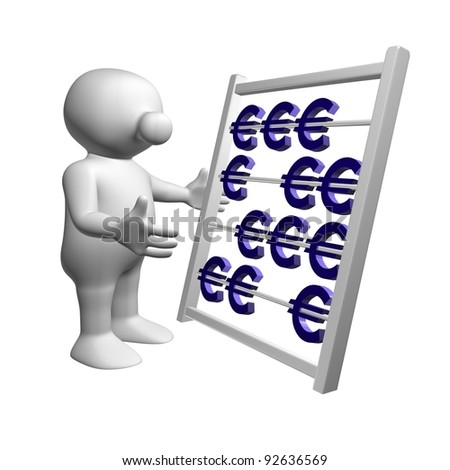 White 3D man calculating with an abacus with euro symbols - stock photo