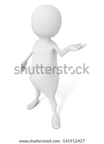 white 3d man gesture showing presentation hand - stock photo