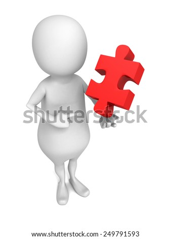 white 3d man holding a piece of a jigsaw puzzle. 3d render illustration - stock photo