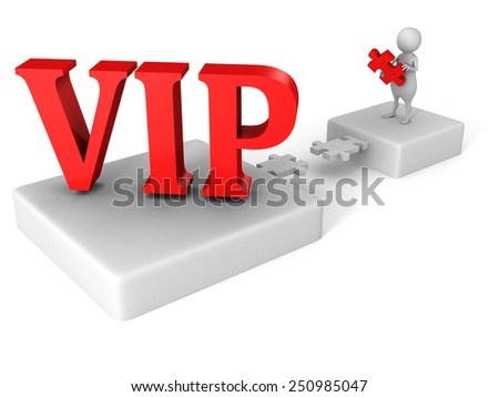 white 3d man jigsaw puzzle bridge to red VIP word. success concept - stock photo