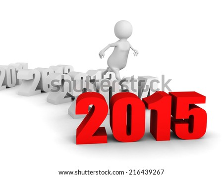 white 3d man jump over new 2015 year. runnung to success. 3d render illustration - stock photo