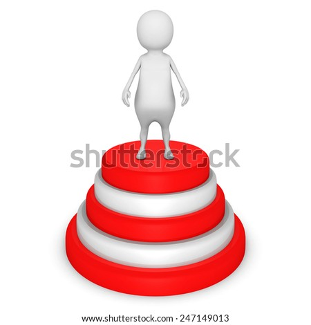 white 3d man on success podium. 3d render illustration - stock photo