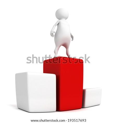 white 3d man on winner success top. 3d render illustration - stock photo