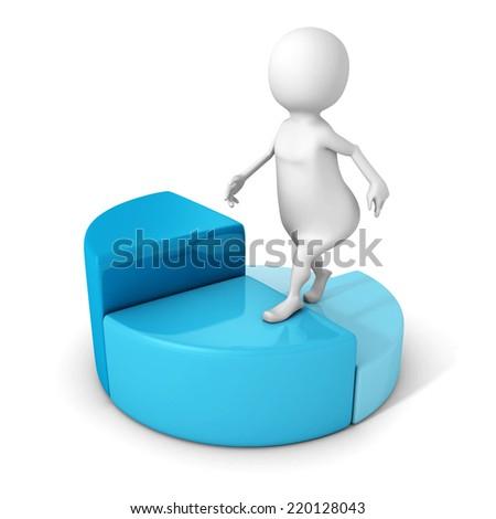 white 3d man steps up on pie chart diagram. business achivement success concept 3d render illustration - stock photo
