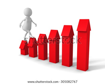 White 3d Man Steps Up To Success On Stairs Red Arrows. 3d Render Illustration - stock photo