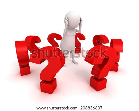white 3d man surrounded red problem question marks. 3d render illustration - stock photo
