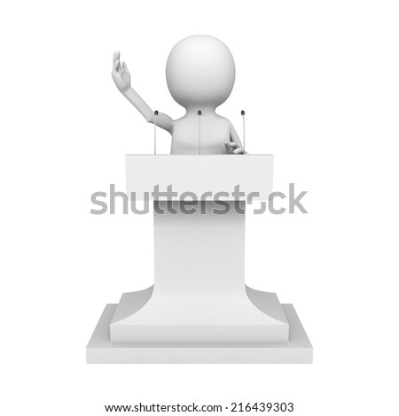 white 3d man talking behind the speak stage. 3d render illustration - stock photo