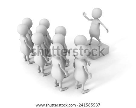 white 3d man talking to crowd. 3d render illustration - stock photo