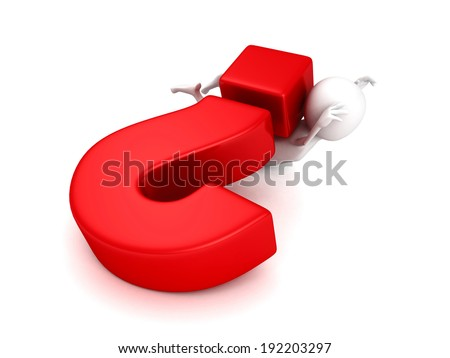 white 3d man under big red question mark. problem concept 3d render illustration - stock photo
