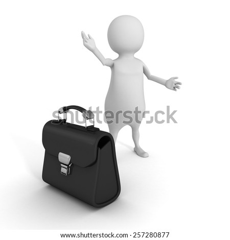 White 3d Man Welcome Gesture With Briefcase. Business Concept 3d Render Illustration - stock photo