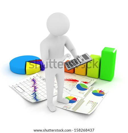 White 3d man with charts and a calculator, isolated on white - stock photo