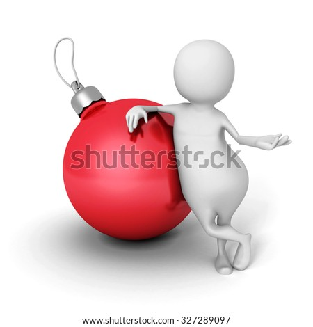 White 3d Man With Christmas Ball. 3d Render Illustration - stock photo