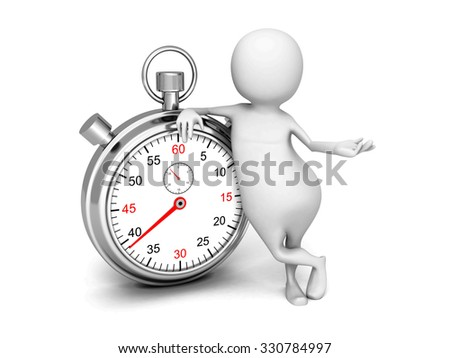 White 3d Man With Classic Silver Stopwatch. 3d Render Illustration - stock photo