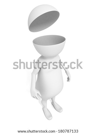 white 3d man with open head cover. think idea concept 3d render illustration - stock photo