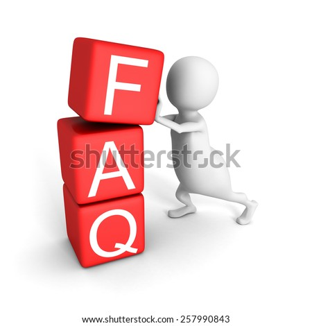 White 3d Man With Red Blocks FAQ Word. Concept 3d Render Illustration - stock photo