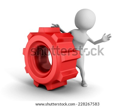 white 3d man with red cogwheel mechanical gear. 3d render illustration - stock photo