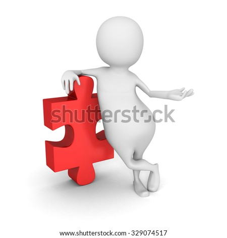 White 3d Man With Red Jigsaw Puzzle. 3d Render Illustration - stock photo