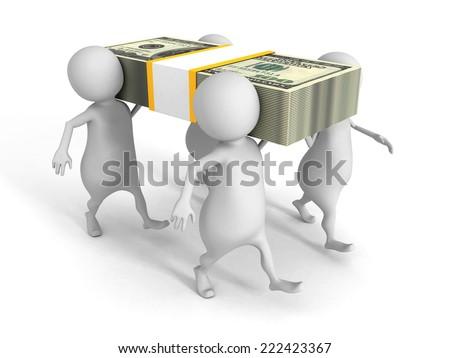 white 3d people carry on hundred dollars pack. 3d render illustration - stock photo