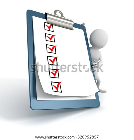 White 3d Person with a Clipboard Check ToDo List. 3d Render Illustration - stock photo