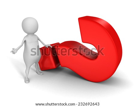 white 3d person with big red question mark. 3d render illustration - stock photo