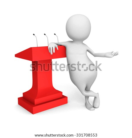 White 3d Person With Red Tribune. 3d Render Illustration - stock photo