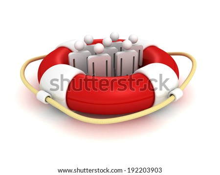 white 3d team people in lifebuoy. business concept 3d render illustration - stock photo