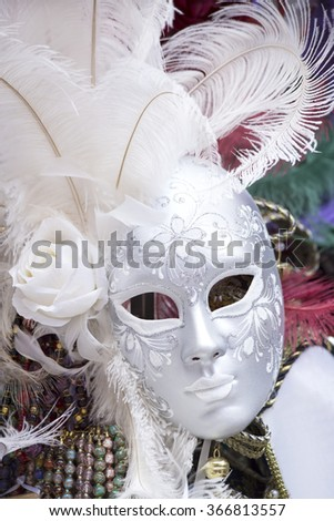 White decorative carnival mask close up - stock photo