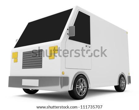 White Delivery Van on white background - stock photo