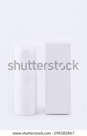 White dentifrice, cream with box, package, blank, tube - stock photo