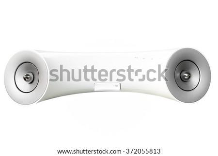 White design mobile phone speaker isolated on white background - stock photo