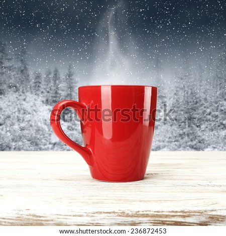 white desk and red mug  - stock photo