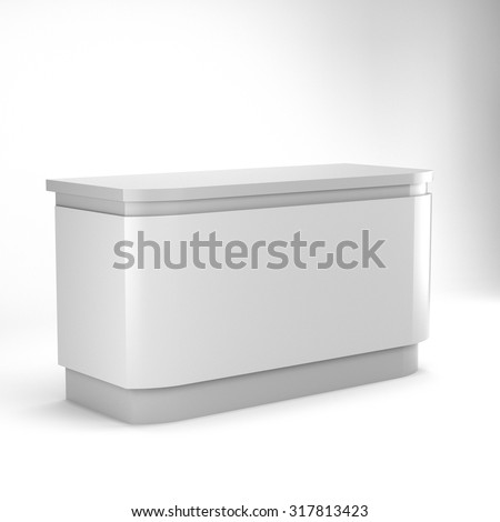 white desk or counter from side view. render - stock photo