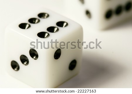 white dice against white background - stock photo