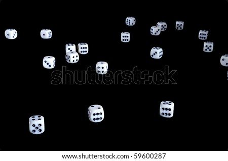 White dice - isolated on black - stock photo