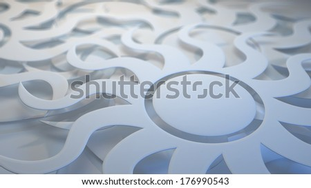 White 3 dimensional layered sunburst background with depth of field blur - stock photo