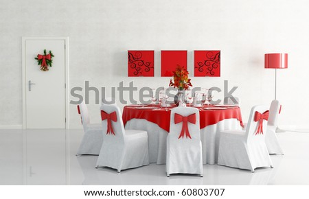 white dining room with christmas table set - stock photo