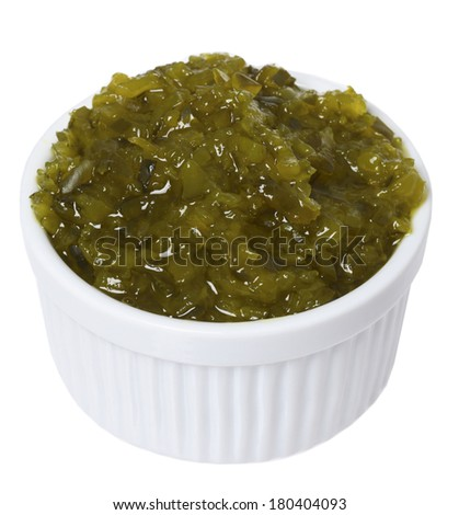 White dish of pickle relish on white background  - stock photo