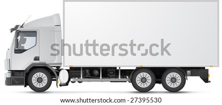 White distribution truck isolated on white (soft realistic shadow). See vector version in my portfolio! - stock photo