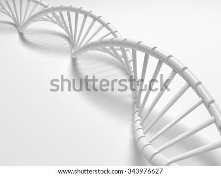 White Dna structure abstract background, 3D illustration. - stock photo