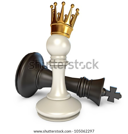 White does the pawn checkmate. Pawn with golden crown. Isolated on white background. 3d render - stock photo