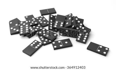 White domino tiles randomly piled, isolated on white - stock photo